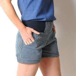 Womens stretchy white and blue striped denim shorts