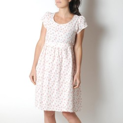White and red floral dress with short sleeves, lightweight cotton