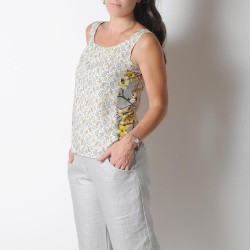 White and yellow paisley print tank top, vintage fabric