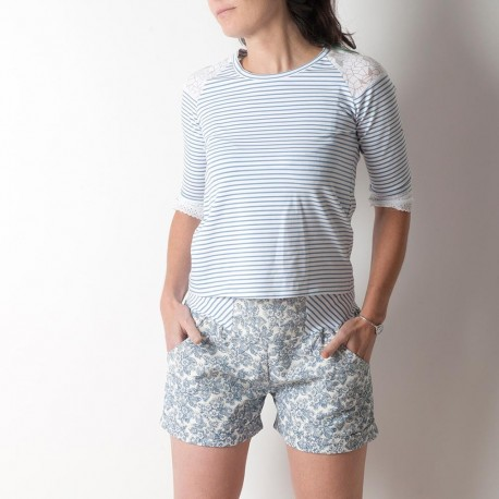 Womens shorts, vintage white and blue floral cotton