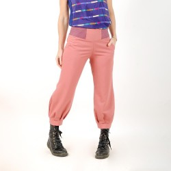 Womens indian pink wool blend puffy pants with jersey belt