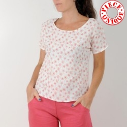 Short-sleeved summer top, yellow printed cotton gauze