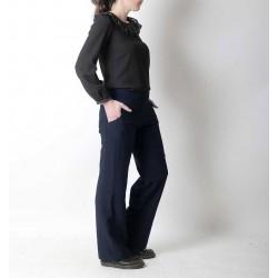 Pantalon femme made in France créateur français bleu marine, souple, coupe droite
