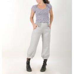 Pantalon femme 4/5 en lin gris clair froissé
