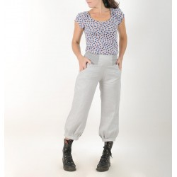 Womens puffy pants in pale grey crumpled linen