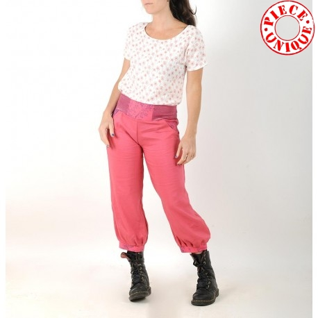 Womens bright pink puffy pants with jersey belt