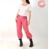 Pantalon femme 4/5 rose fuchsia, ceinture jersey