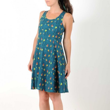Colorful cotton jersey dress with bird print, crossed straps and flared cut