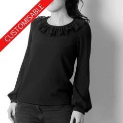 Womens blouse with ruffled collar - CUSTOM HANDMADE