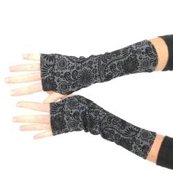 Black and grey long fingerless gloves, swirly print
