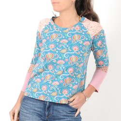 Blue and pink womens top, floral jersey patchwork