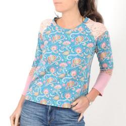 Top créateur fabrication française made in france femme bleu et rose, patchwork de jersey