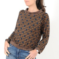 Blue and camel houndstooth blouse with sparkly boat cowl