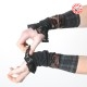 Stretchy black and red jersey cuffs with black lace ruffles