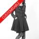 Womens swallowtail jacket, pleated back, pointy collar - CUSTOM HANDMADE