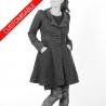Womens Long Jacket, pleated back, pointy collar - CUSTOM HANDMADE