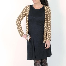 Camel and beige open cardigan, wide dots
