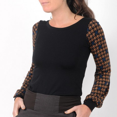 Black top with long geometric print puffy sleeves