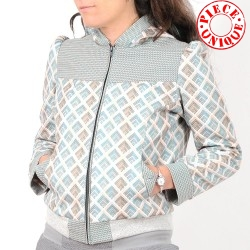 Womens pastel blue patterned zippered hooded jacket