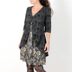 Long grey and black swirly swallowtail jacket