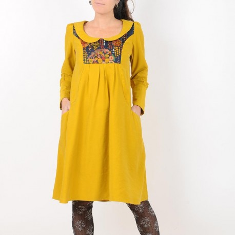 Mustard yellow and vintage floral dress