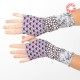 Long armwarmers, printed purple jersey patchwork