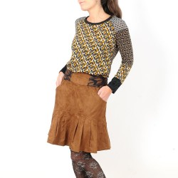 Pleated womens skirt with pockets, camel faux suede