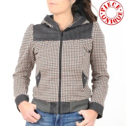 Womens houndstooth and corduroy zippered hooded jacket