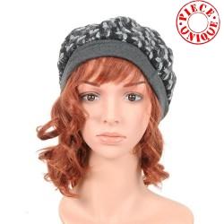 Black and grey wool beret hat