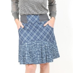 Pleated womens skirt with pockets, blue floral denim