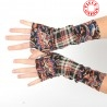 Colorful armwarmers, patchwork of checkered and floral jersey