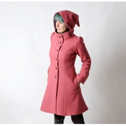 Manteau d'hiver à Capuche de Lutin en laine vieux rose