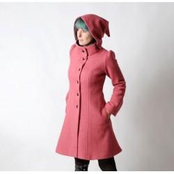 Rosewood Pink winter Pixie coat with Goblin Hood in virgin wool