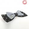 Barette noeud papillon gris et noir à pois