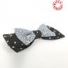 Grey and black with polka dots fabric bow hair clip