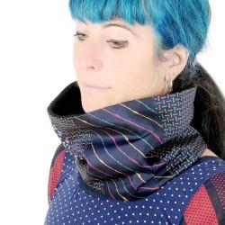 Dark blue patchwork Cowl Scarf, womens' winter snood