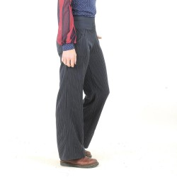 Womens striped and stretchy navy blue supple pants, wide legs