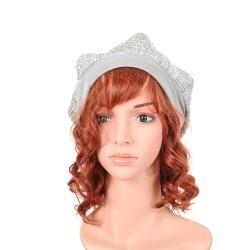 Silver and grey tweed beret hat