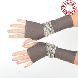 Taupe and beige armwarmers, houndstooth print jersey