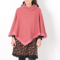 Pull-cape rose grosse maille, coton et laine