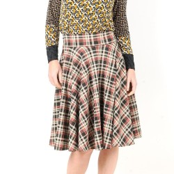 Mid-length flared skirt with plaid print