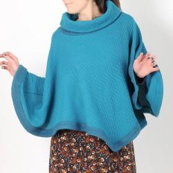 Pull-cape bleu grosse maille, coton et laine