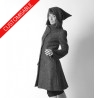 Pixie winter coat with pointy hood and flared sleeves - CUSTOM HANDMADE
