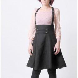 Jupe taille haute à bretelles faux daim noir perforé