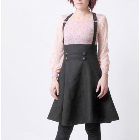 Jupe taille haute originale à bretelles faux daim noir perforé