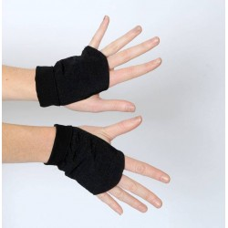 Metallic black fingerless gauntlets
