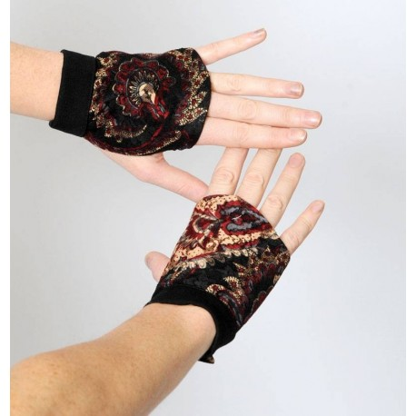 Black and Red Lace fingerless gauntlets