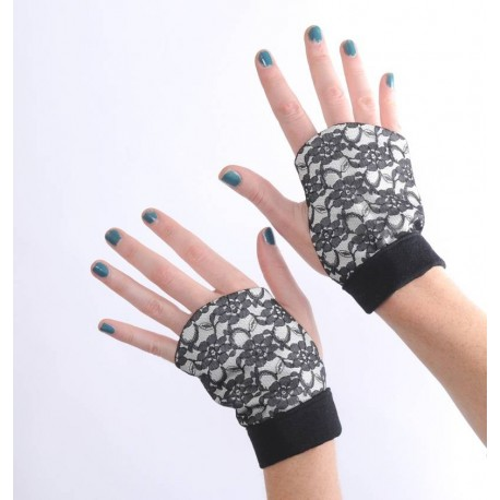 Black lace and white cotton fingerless gauntlets