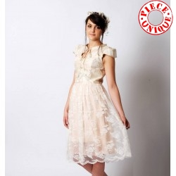 Wedding ivory dress handmade from silk and lace