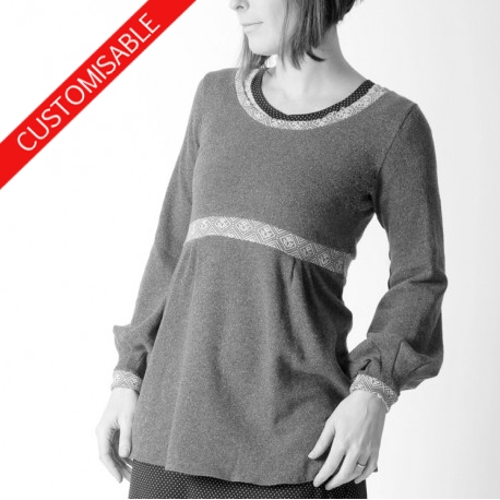 Long jersey sweater with empire waist and puffly sleeves - CUSTOM HANDMADE